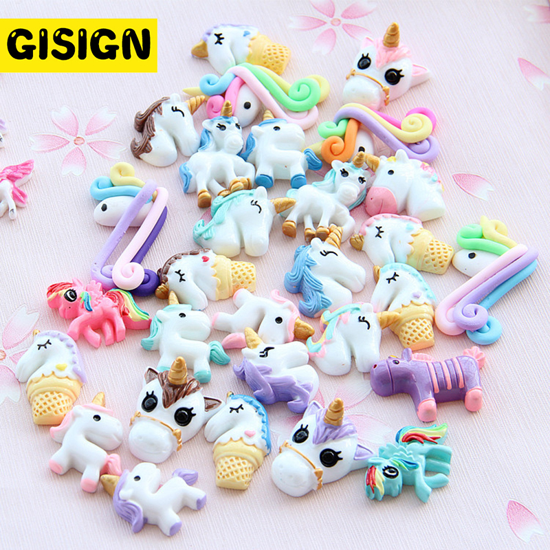 10pcs Resin Unicorn All Charms For Slime Additives Slime Supplies Lizun Filler Diy Phone Decoration Clay Kit Toys For Children