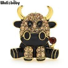 Броши wuli & baby с эмалью изображением коровы броши для Подарки