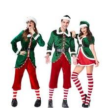 Di natale Per Adulti Babbo natale Cosplay Costume di Carnevale Divertimento Al Vostro Xmas Party Elf Festival Coppia Fancy Dress