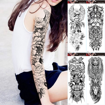 Large Arm Sleeve Tattoo Wing Flower Waterproof Temporary Sticker Roses Men Full Skull Totem