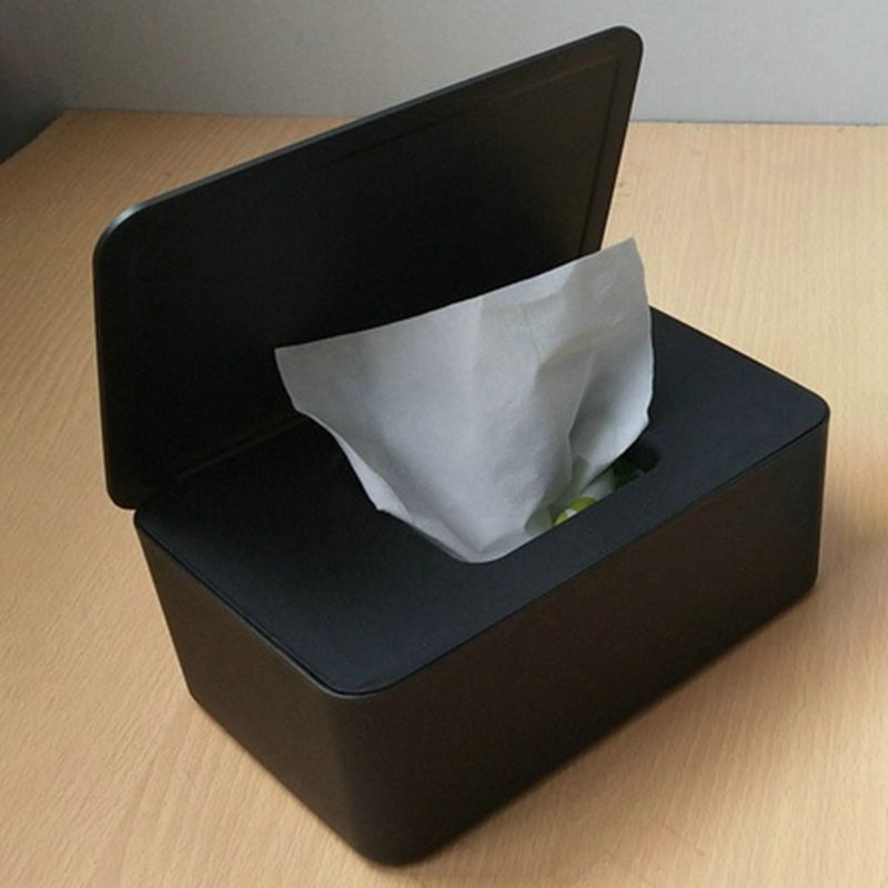 Wet Wipes Dispenser Holder With Lid Black Dustproof Tissue Storage Box For Home Office Store