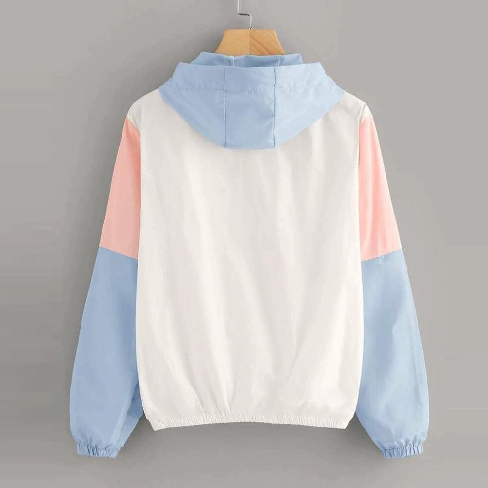 Casual Hooded Sweatshirt Women Sport Coat Long Sleeve Patchwork Colors Hooded Zipper Pockets Casual Women Tops #15