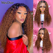 Ombre 1B 30 Part Lace Human Hair Wigs Curly 13x1 Lace Front Wig Lace Closure Wig Baby Hair Honey Brown Blonde Remy Hair Wig