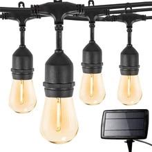 48FT Outdoor Solar String Lights with 15 PCS S14 Bulbs Waterproof Garland Garden Light Backyard Patio Commercial Hanging Lights