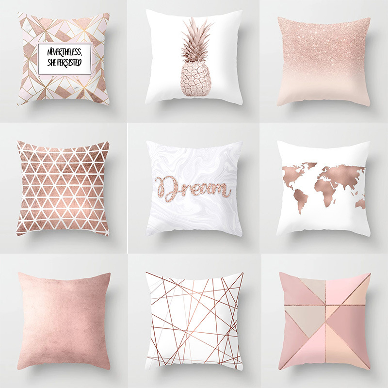 Lash Pillow Case Rose Gold Geometric Pineapple Glitter Polyester Sofa Decorative Cushion Cover For Home Decor 45x45cm