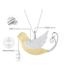 Image 5 - 蓮楽しいリアル 925 スターリングシルバー手作りのクリエイティブフライング鳥果物ネックレスなし女性のための