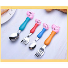 Peppa pig desenhos animados anime conjunto de talheres garfo colher de quatro peças de jantar do bebê de aço inoxidável toyslearningdiningcrianças presentes de natal