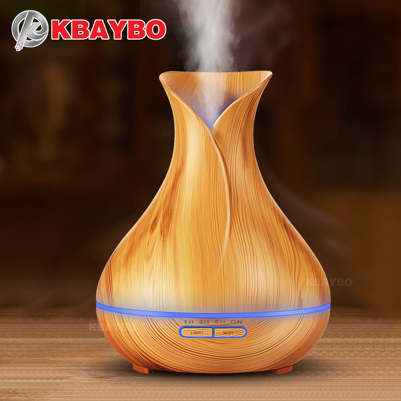KBAYBO 400ml Essential Oil Diffuser Wood Grain Ultrasonic Aroma Cool Mist Humidifier For Office Bedroom Baby Room Study Yoga Spa