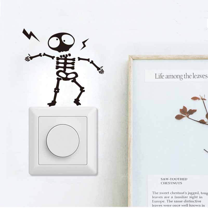 Electric Shock Extraterrestrial And Bird Switch Wall Sticker For Kids Rooms Art Decals Removable Switch Decoration Stickers