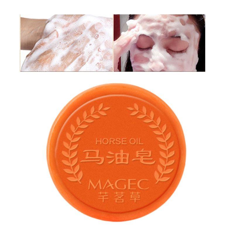 Horse Oil Facial Soap Clean Blackhead Care Soap Natural Moisturizing Treatment Repair Whitening Handmade Soap Q0KD
