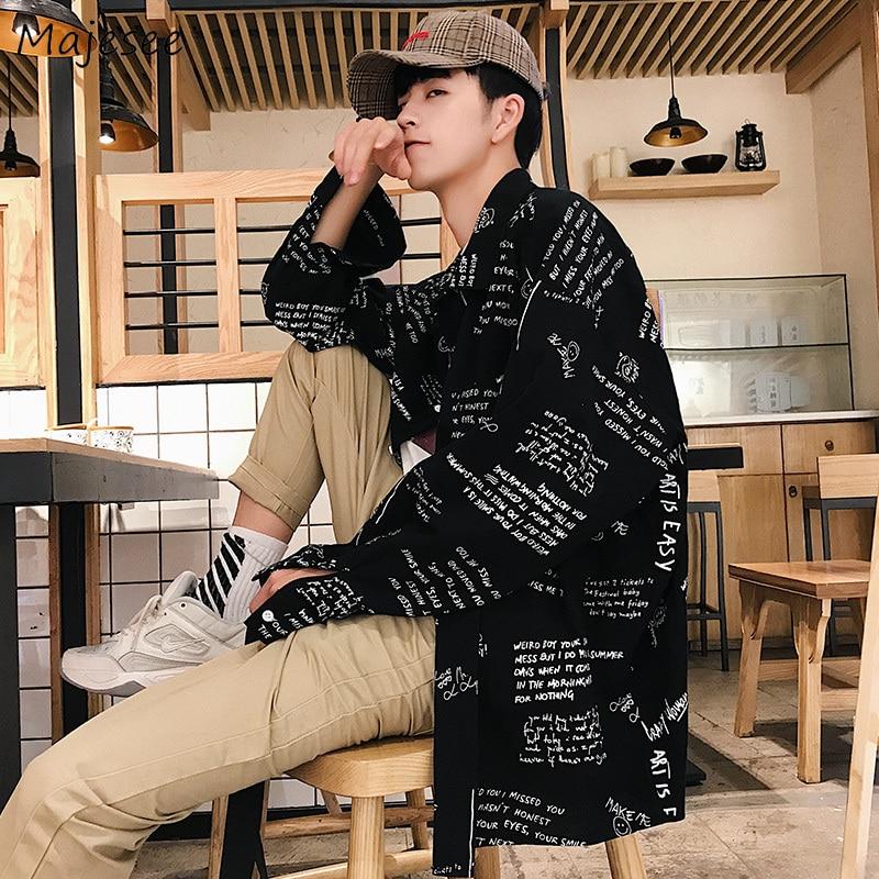 Shirt Men Printed Loose Casual Retro Long Sleeve Simple Tops Mens Shirts Korean FashionTurn-down Collar Plus Size Clothing Soft