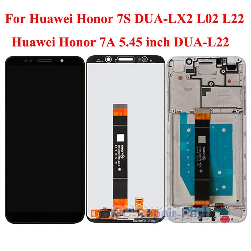 Дисплей для Huawei Honor 7A диагональю 5,45 дюйма, зеркальный ЖК-дисплей с сенсорным экраном, замена для Honor 7S, зеркальный ЖК-дисплей с рамкой, версия ...