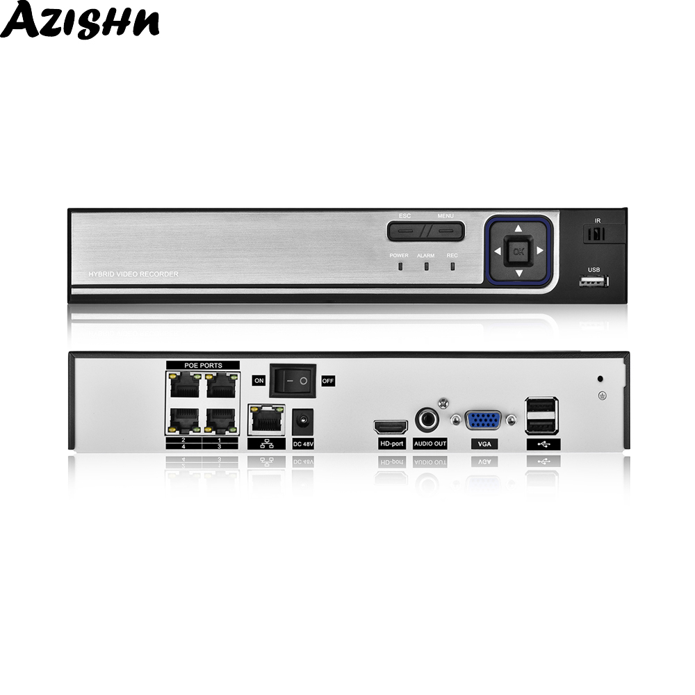 AZISHN H.265 48V POE <font><b>NVR</b></font> <font><b>4CH</b></font> 5MP / 8CH 5MP Security Video Surveillance Recorder Motion Detect ONVIF P2P <font><b>CCTV</b></font> <font><b>NVR</b></font> For POE IP Cam image