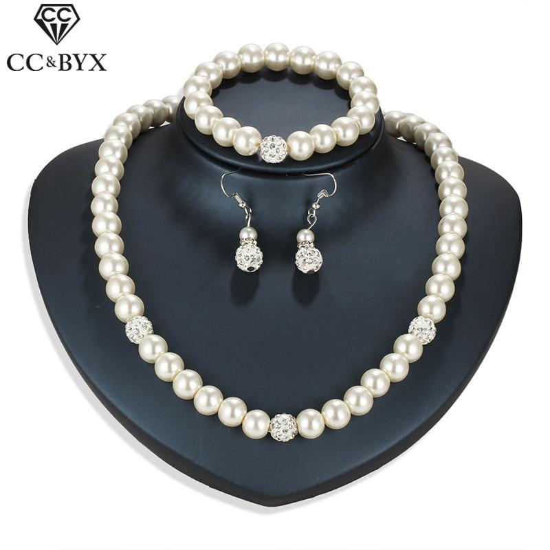 CC Jewelry set Pearl Drop Earring Necklace Women Bracelets 3pcs Luxury Wedding Accessories For Brides Statement Necklaces YH43