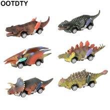 6 pçs puxar para trás dinossauro carros brinquedos 6 pacote dinossauro roadster festa favores jogos dino cor aleatória