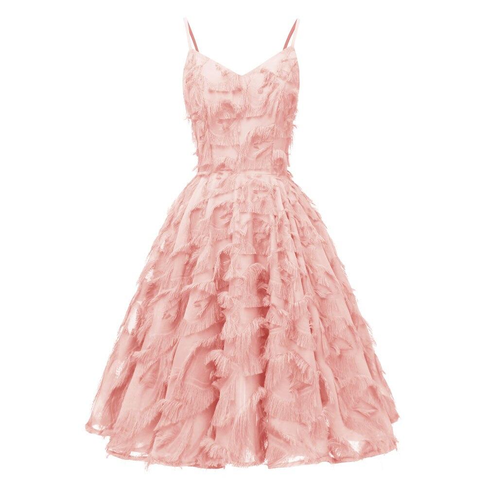 Красное коктейльное платье длиной до колена роскошное вечернее платье трапециевидной формы с кисточками сексуальное платье без рукавов с v-образным вырезом - Цвет: 1421 Pink