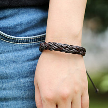 Punk style multi-layer leather mens bracelet retro hand-woven fashion personality men and women gifts