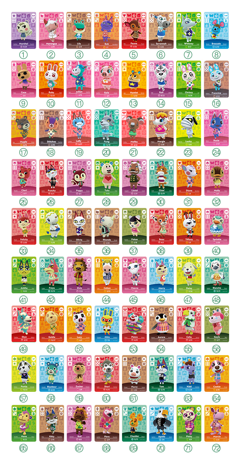 72pcs Village As Photo Animal Crossing Card Amiibo Card Locks Nfc Card Work For Switch NS 3DS Games Animal Crossing Amiibo Card