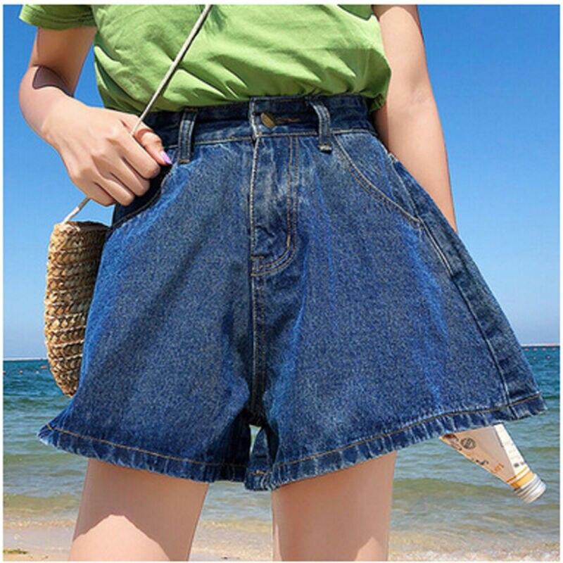 2019 Fashion Women Summer Denim Shorts Jeans Women High Waist Wide Legs Shorts Lady Push Up Skinny Slim Blue Denim Shorts Ladies