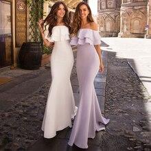 Jersey Mermaid-Gowns Graduation-Dresses No Scoop Pleat Do Novia Vestidos Off-Shoulder