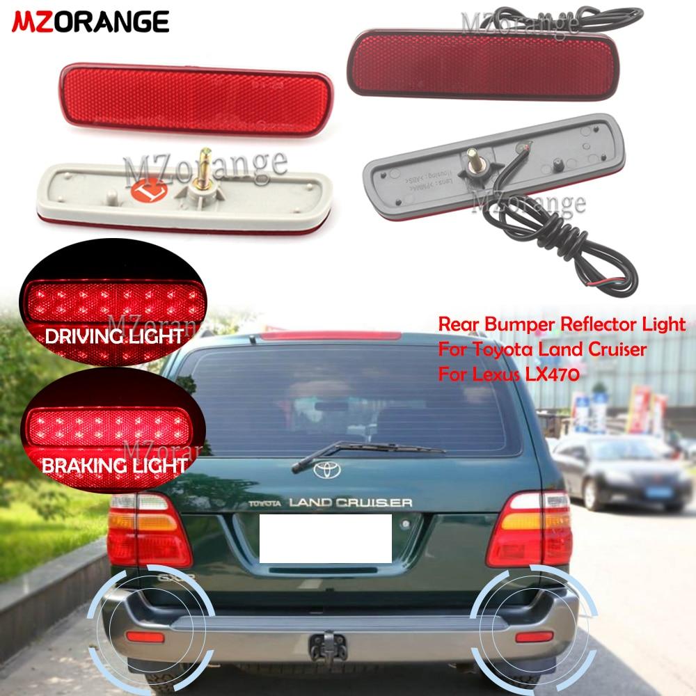 Отражатель для заднего бампера для Toyota Land Cruiser/Lexus LX470, задний стоп-сигнал, противотуманная фара, дхо, стайлинг автомобиля светильник для бамп...