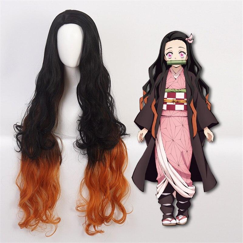 105cm Long Demon Slayer Nezuko Kamado Cosplay Wigs Kimetsu No Yaiba Heat Resistant Hair Cosplay Costume Wigs