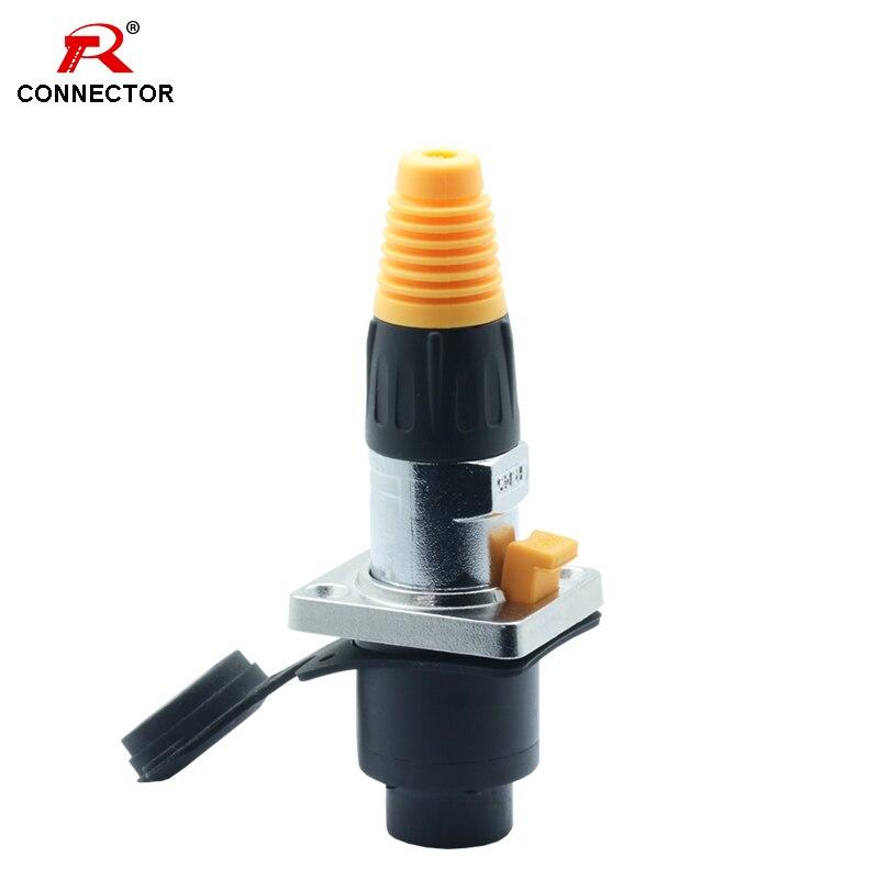 10pcs 8p8c RJ45 Waterproof Connector,Orange&Black Color, Panel Mount+Wire Connector, RJ45 Ethernet/Network Connector, IP65 Level