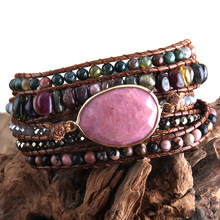 RH nowy projektant mody bransoletka Boho ręcznie mieszane kamienie naturalne Charm 5 nici bransoletki kobiety prezent DropShip