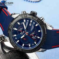 MEGIR Men's Fashion Sports Quartz Watches Silicone Strap Chronograph Analogue Wrist Watch for Man Military Casual Watch 2055BE-2