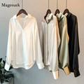 Seide Koreanische Büro Damen Elegantes Hemd Bluse Frauen Mode-Taste Up Satin Hemd Vintage Weiß Langarm Shirts Tops 11355