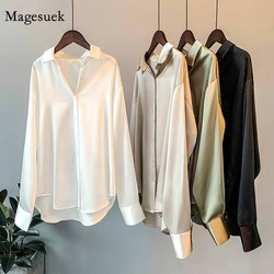 Silk Korean Office Ladies Elegant Shirt Blouse Women Fashion Button Up Satin Shirt Vintage White Long Sleeve Shirts Tops 11355