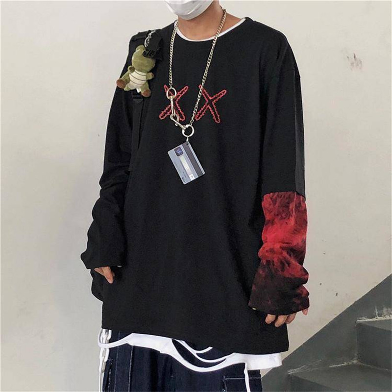 Hip Hop Long Sleeve T-shirts Men O-neck Punk Patchwork T Shirt Men Fashion Casual Hip Hop T Shirts Men Spring Autumn Shirts Boy