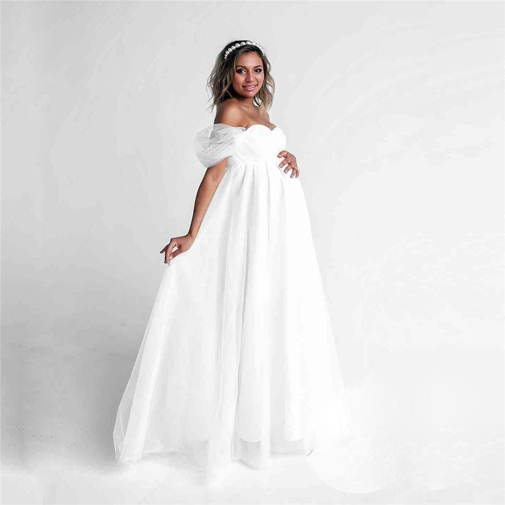 Shoulderless Sexy Maternity Dress Photo Shoot Long Pregnancy Dresses Photography Props Lace Chiffon Maxi Gown For Pregnant Women (2)