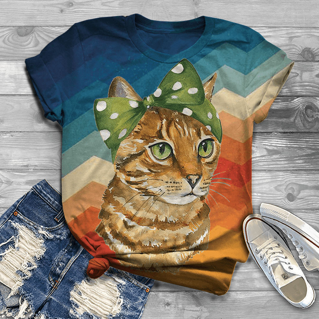 Colorful Tabby Cat T-Shirt