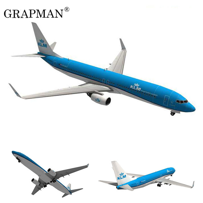 Boeing 737 Aircraft Dutch Airlines 3D Paper Model DIY Puzzle Handmade Origami Toy Paper Model