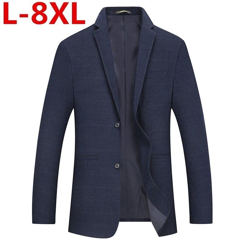 Big Size 8XL 7XL Autumn Winter  Business Coat Add Fertilizer Increased Plus Size Male Casual Suit Jacket Loose Fat Male Jacket