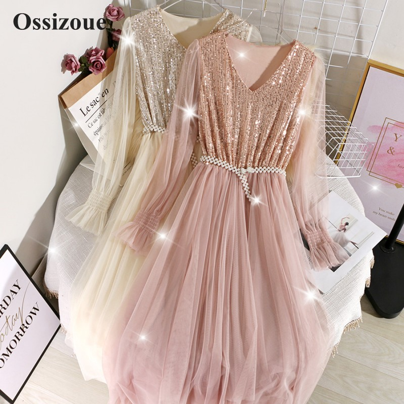 Elegant Tea Length Cocktail Dress V Neck Bling Bling Sequins Homecoming Party Dresses For Special Occasions ESAN431