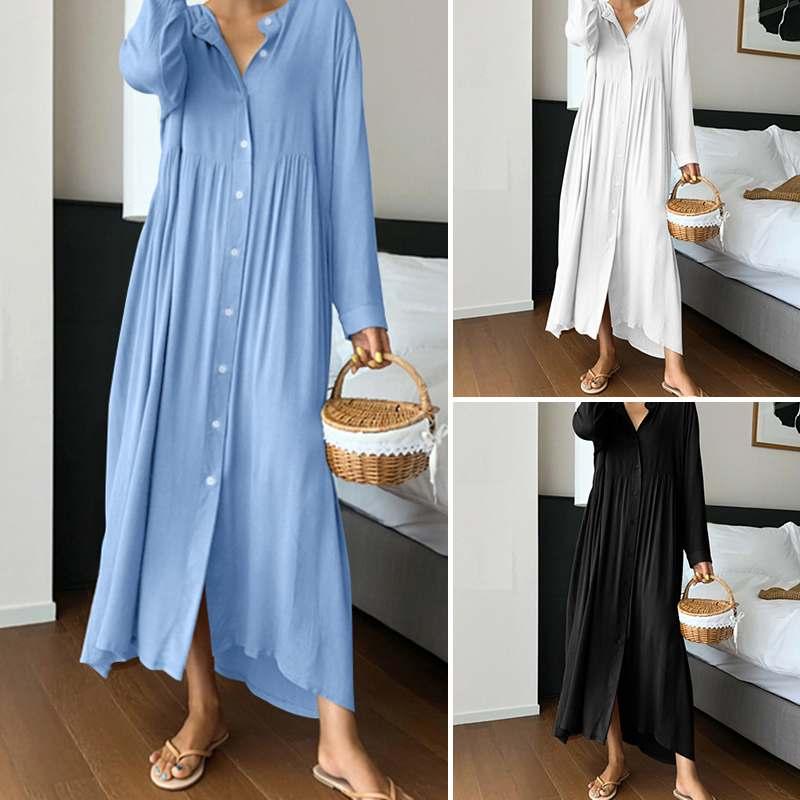 Women Vintage Shirt Sundress 2020 Celmia Fashion Long Maxi Dress Long Sleeve O-neck Casual Loose Buttons Party Vestidos Robe 5XL