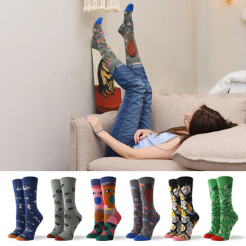 Our Tanks Spring/Autumn 2020 New Womens Cotton Socks Abstract Character Art Pure
