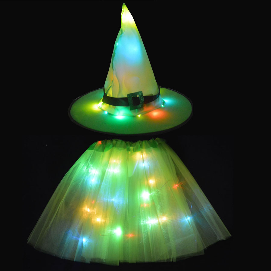 Women Kids Girl LED Glow Light Witch Hat Skirt Wizard Cosplay Props Birthday Party Gift Christmas Tree Headband New Year Costume