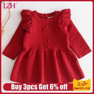 Christmas Dress For Baby Girls Autumn Winter Long Sleeve Sweater Dress Newborn 1 Year Birthday Party Dress Infant Princess Dress