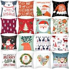 1Pcs 45Cm Vrolijk Kerstfeest Kussenhoes Elanden Kerstman Decoreren Kerst Ornamenten 2020 Xmas Geschenken Nieuwe Jaar 2021