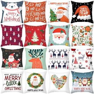 Image 1 - 1pcs 45cm Merry Christmas Cushion Cover Elk Santa Claus Decorating Christmas Ornaments Christmas 2020 Xmas Gifts New Year 2021