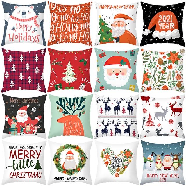 1pcs 45cm Merry Christmas Cushion Cover Elk Santa Claus Decorating Christmas Ornaments Christmas 2020 Xmas Gifts New Year 2021