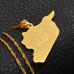 Image 5 - Anniyo Country Map Syria Pendant Witk Allah Name Gold Color Syrians Maps Necklace Jewelry Gifts #020121