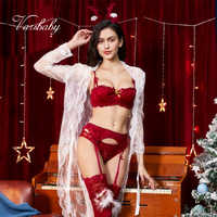 Varsbaby sexy 1/2 cup christmas 7 pcs bras+panties+garters+stockings+antler headband+nightgown bra and panty set