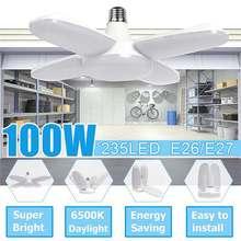 Светодиодный светильник для гаража, складная лампа E27, 4 регулируемые лопасти вентилятора, деформируемое потолочное освещение, 6500K AC85-260V для мастерской