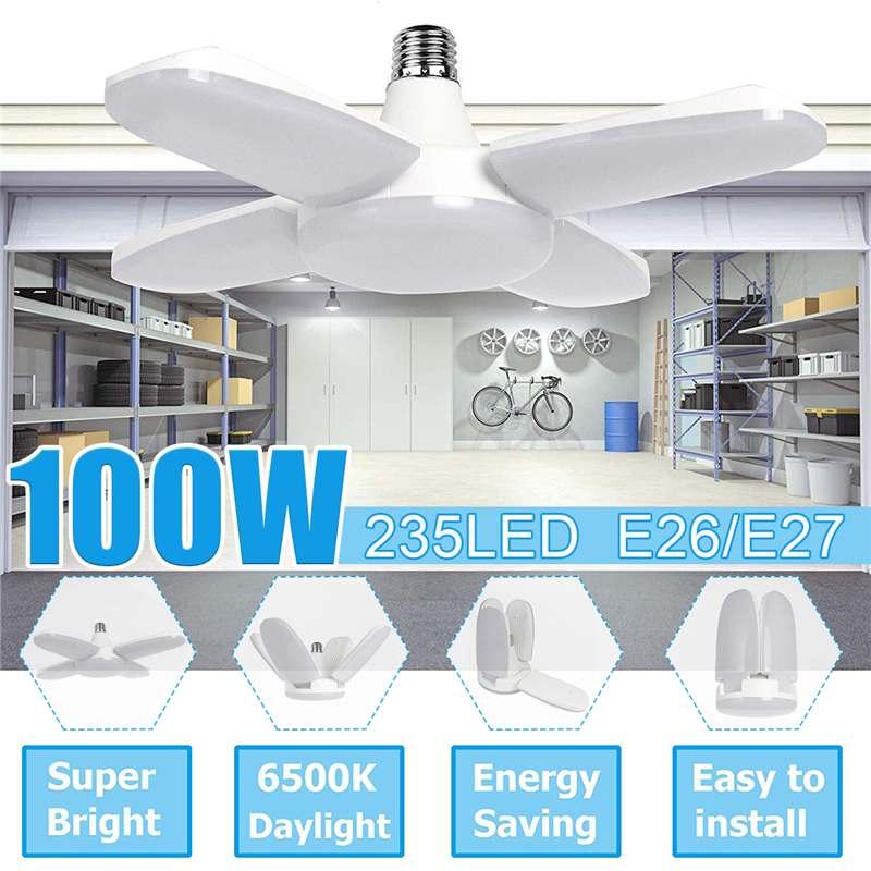 LED Garage Lights Foldable E27 Bulb 4 Adjustable Fan Blades Deformable Ceiling Lighting 6500K AC85-260V For Workshop Warehouse
