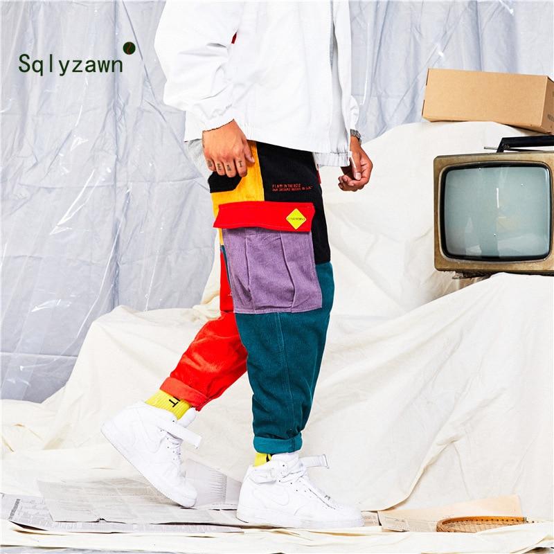 Corduroy Color Block Patchwork Streetwear Cargo Pants Men And Women Fall Harajuku Plaid Loose Harem Jogger Sweatpant Trousers