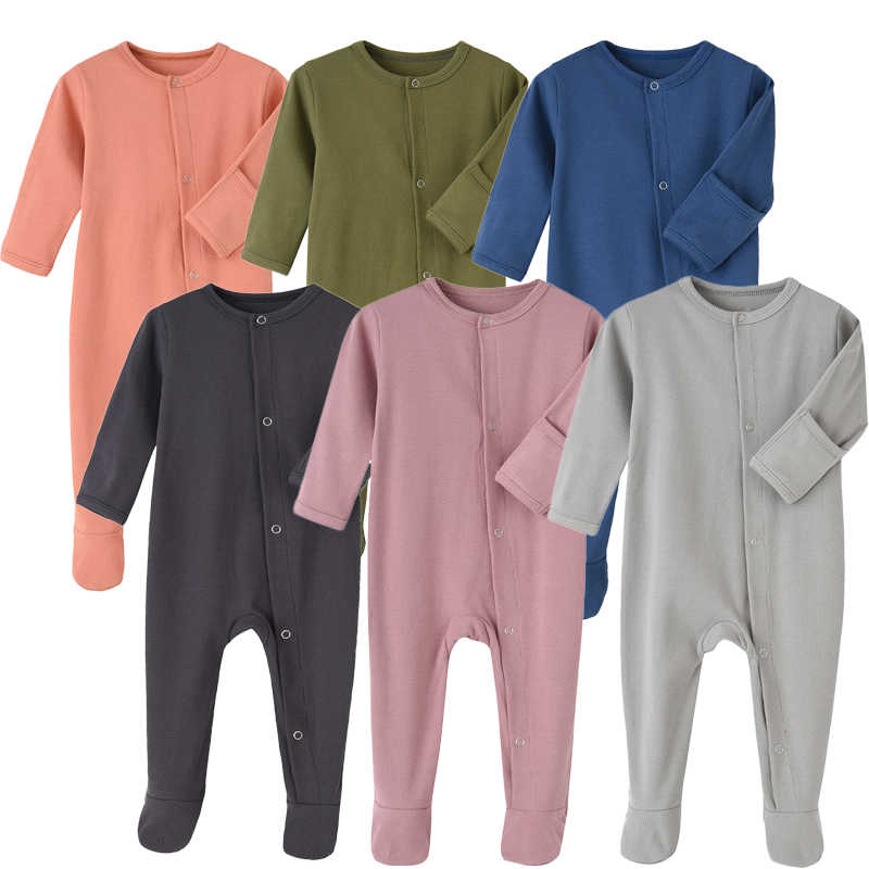 Organic Cotton Baby Rompers Footed Sleep and Play Autumn Winter Full Sleeve Jumpsuit Infant Footies Solid Color Bottoming Cloth